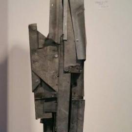 François CALVAT -  Sculpture Tendresse -93x18x13 cm - Zincet socle béton - 1975