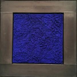 François CALVAT - Tableau série BLEU - 45x45 cm - Plomb et brisure de bois bleu Calvat - 2015
