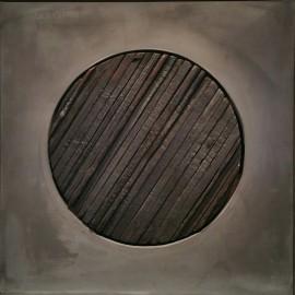 François CALVAT - Tableau série Mémoires - 41x41 cm - Plomb et bois brulés - (2013-2016)