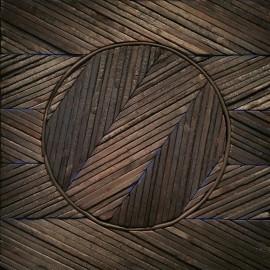 François CALVAT - Tableau série Mémoires - 50x50 cm - Plomb et bois brulés - Latex et bleu Calvat  - 2015