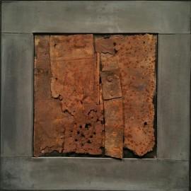 François CALVAT - Tableau série  Mémoires du temps - 45x45 cm - Plomb et tôles rouillées - (2014 -2015)