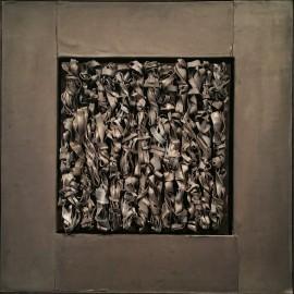 François CALVAT - Tableau série des Mémoires - 40,5x40,5 cm - Plomb et fagots de plomb - 2015