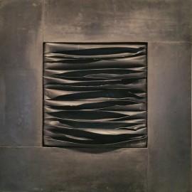 François CALVAT - Tableau série des Mémoires - 40x40 cm - Plomb et latex N°1 - 2004