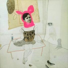 Cécile PERRA - Sans titre - 100x100 cm - tech mixte et broderie - 2017