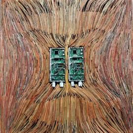 Jean-Baptiste AUDAT - Sans titre I - Papiers et composants électroniques - 38x38x5 cm - (2009 - 10) -