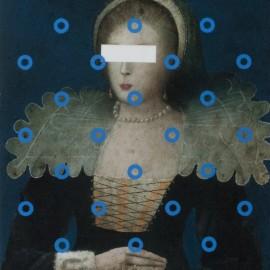 Daniel AIRAM - Portrait de femme - Peinture et technique mixte sur bois - 47x37cm -  2016